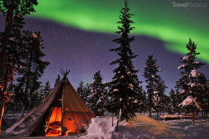 polární záře Švédsko