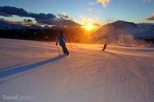ranní lyžování Dolomity