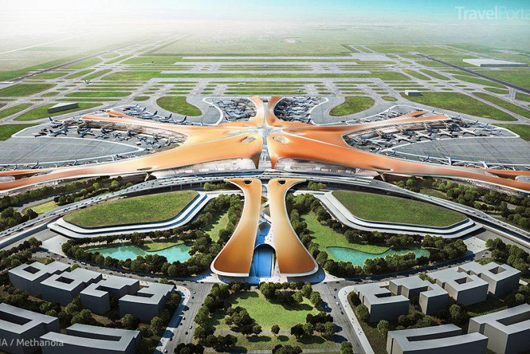 největší letištní terminál na světě Daxing Peking vizualizace