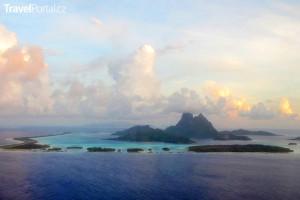 pohled z letadla na Bora Bora