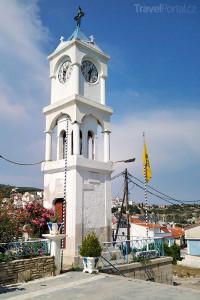 zvonice u kostela Proměnění Páně na ostrově Samos