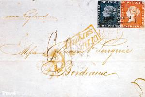 Bordeaux Cover se známkami Modrý a Červený Mauricius