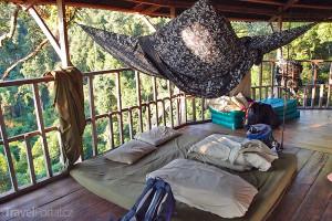nocleh na stromě v rámci Gibbon Experience