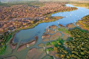 Botswana z vrtulníku
