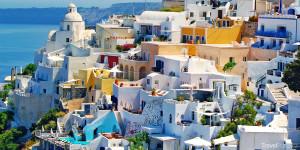 domky na Santorini