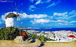 větrný mlýn na ostrově Mykonos