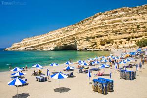 pláž Matala na ostrově Kréta