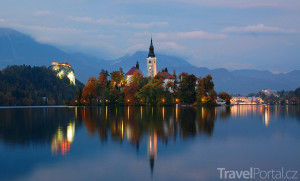 jezero Bled večer