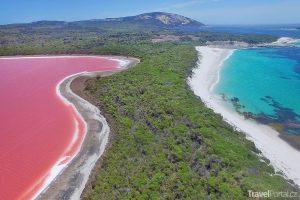 růžové jezero Hillier