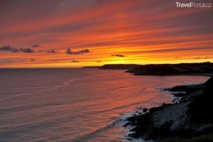 západ slunce nad Rhossili Bay