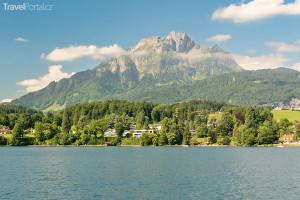 hora Pilatus směrem od jezera