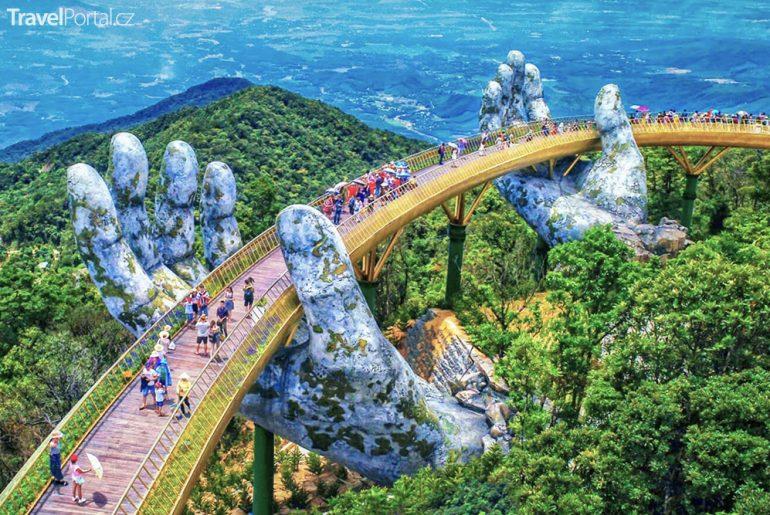vyhlídka Golden Bridge ve Vietnamu