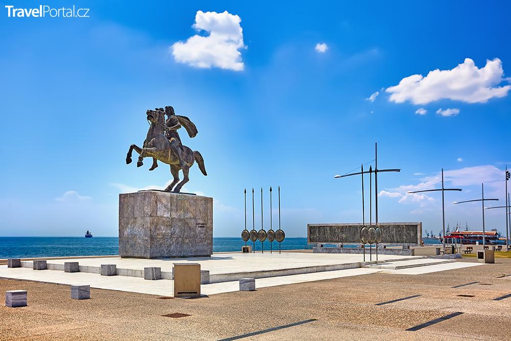 socha Alexandra Velikého ve městě Soluň