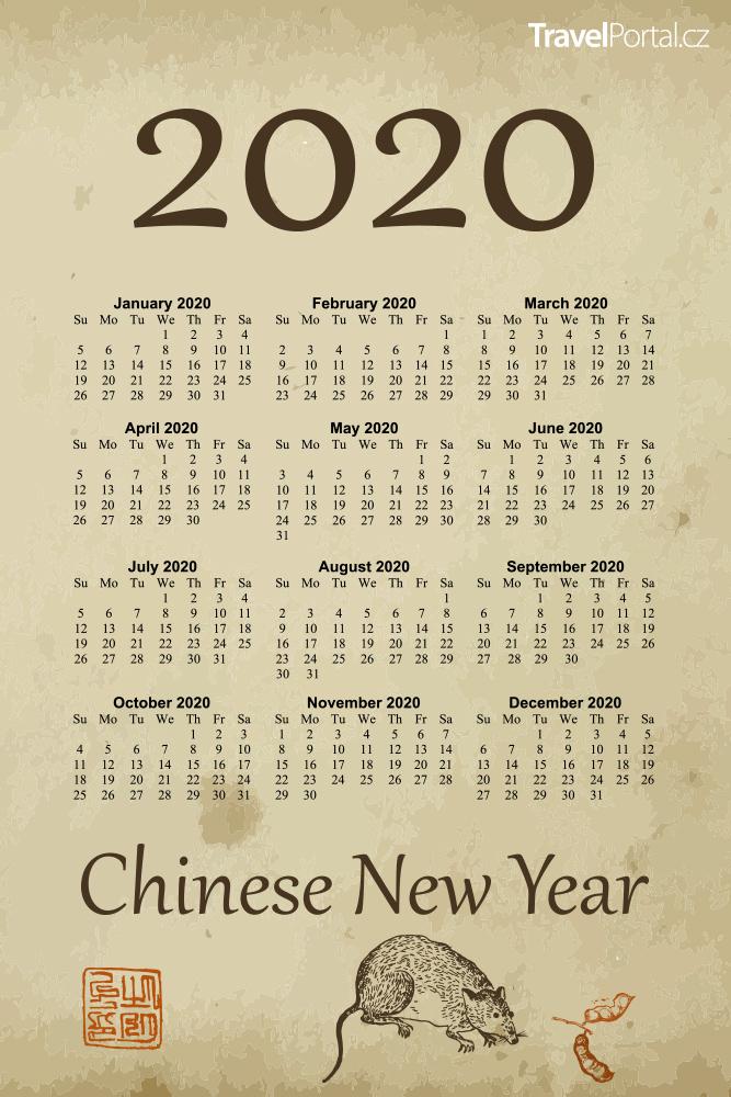 kalendář na rok 2020