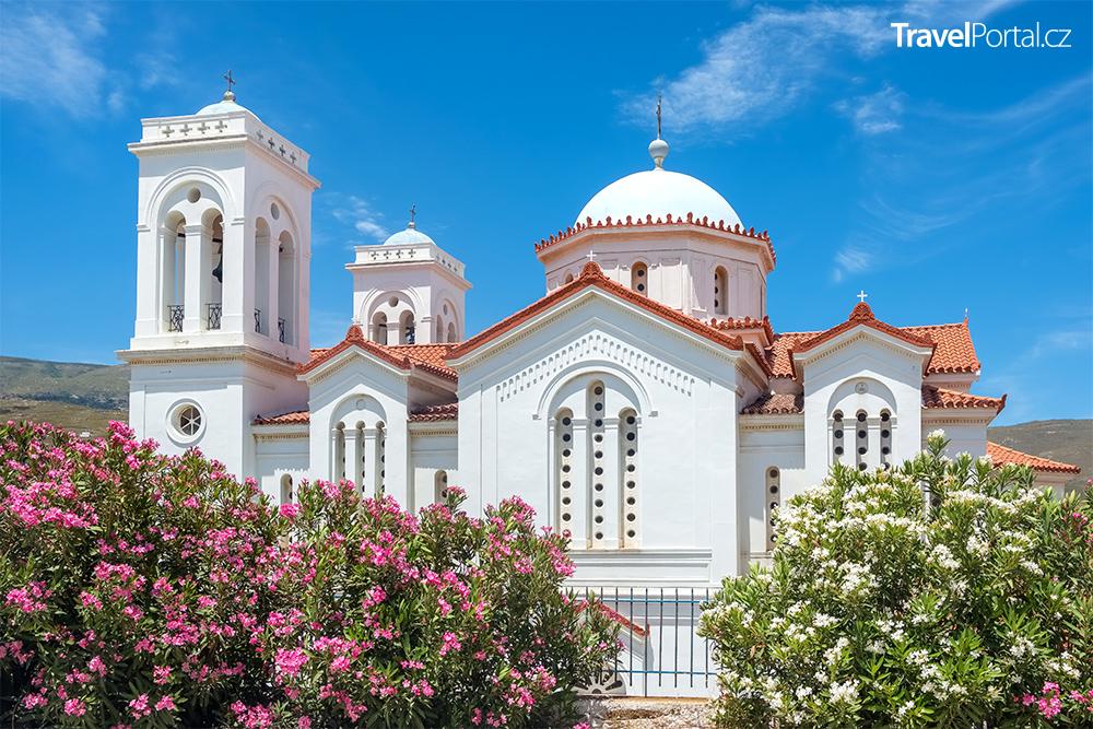 kostel ve městě Chora na ostrově Andros
