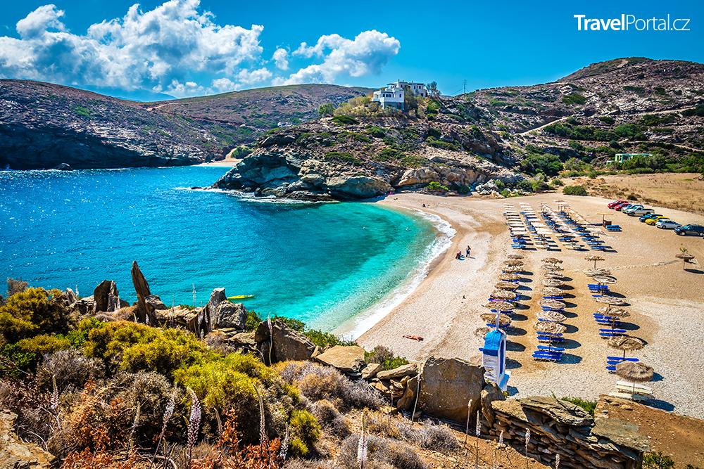 pláž Batsi na ostrově Andros