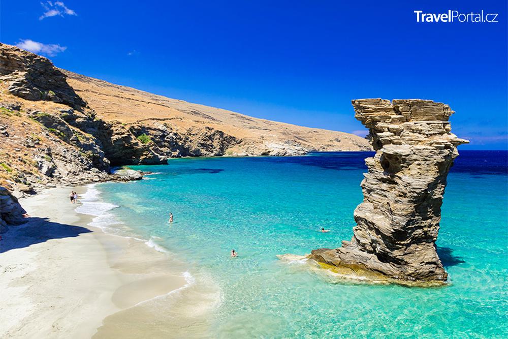 pláž Tis Grias To Pidima na ostrově Andros
