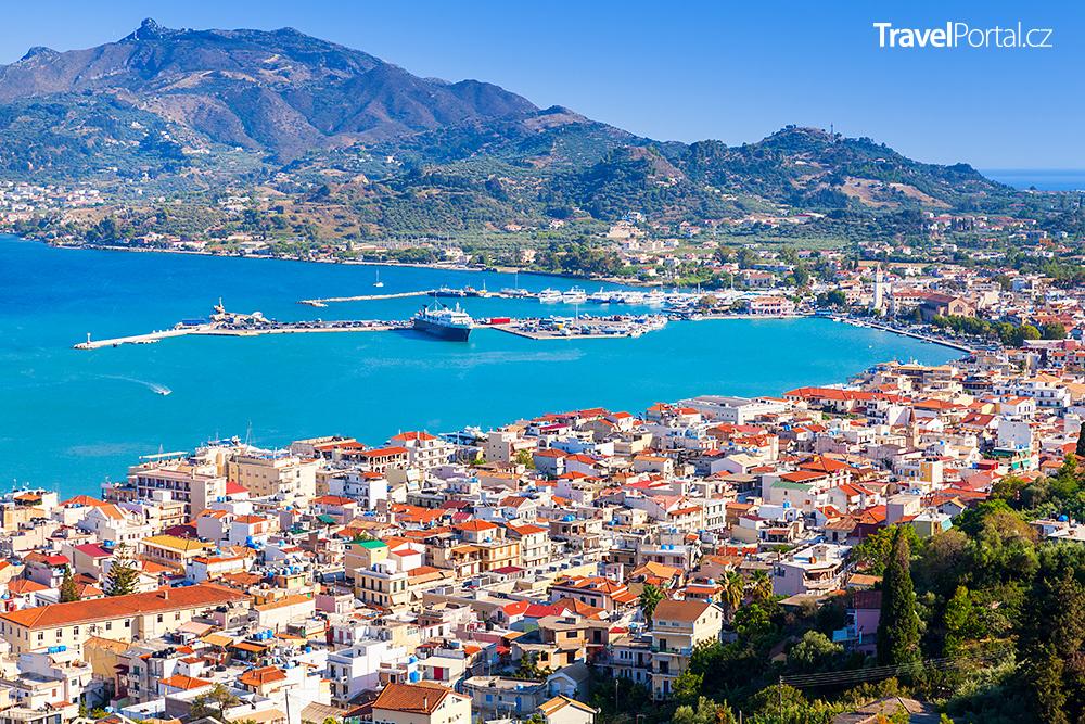 letecký pohled na město Zakynthos
