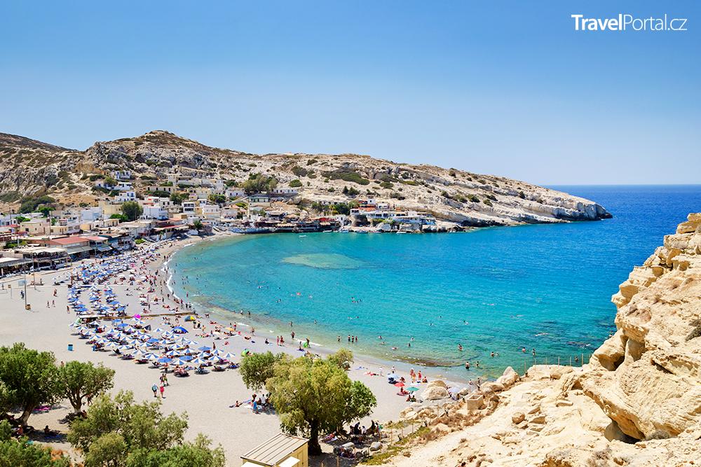 pláž Matala na jihu Kréty