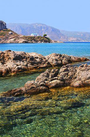 Agios Stefanos: Pláž na Kosu s parádním výhledem na ostrůvek Kastri
