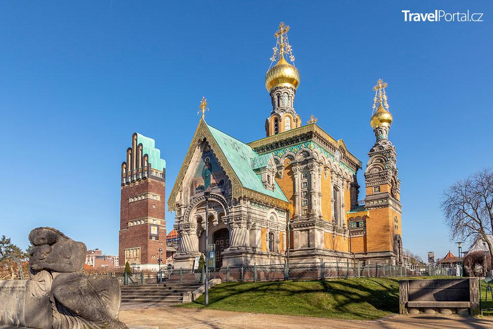 ruská kaple ve čtvrti Mathildenhöhe
